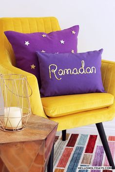 """Manal Aman shows how to make DIY throw pillows for Ramadan and Eid on Hello Holy Days! In this photo, a purple canvas pillow with """"Ramadan"""" written in gold sequins and a purple linen pillow with gold star appliques are shown on a yellow velvet chair."""
