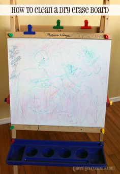 how to clean a dry erase board with a Mr. Clean eraser (worked on permanent marker)