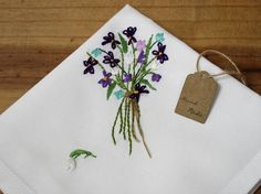 Handkerchief hand embroidered irises white tulips mother of