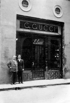 Guccio and Rodolfo Gucci in front of the Rome store 1938