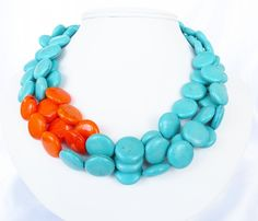 Orange And Turquoise Jewelry | Turquoise Statement Necklaces