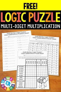 Multi-Digit Multiplication Logic Puzzle {FREE} includes 26 problems and a logic puzzle for students to solve. Multi Digit Multiplication, Multiplication Activities, Math Activities, Math Games, Steam Activities, Thinking Skills, Critical Thinking, Math Logic Puzzles, Fifth Grade Math