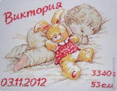 Картина, панно, рисунок Вышивка крестом: Метрика доченьки Канва День рождения. Фото 2