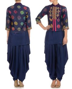 POONAM BAJAJ Navy Blue Printed Jacket with Jodhpuris