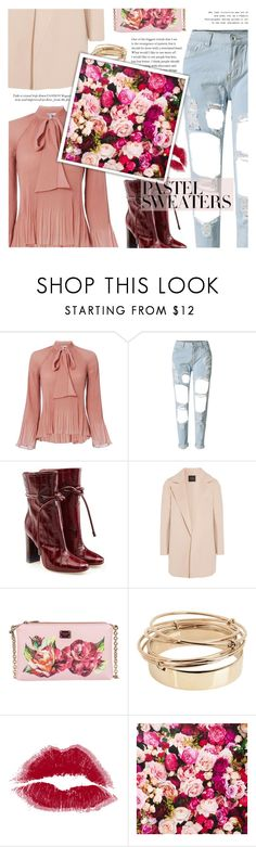 """""""Untitled #1581"""" by clo-23 ❤ liked on Polyvore featuring 10 Crosby Derek Lam, WithChic, Malone Souliers, Theory, Dolce&Gabbana, Valentino, Kate Spade and pastelsweaters"""