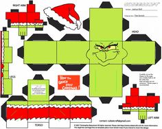 The Grinch in Cubee form! The Grinch was, of course, played by Jim Carrey in the live action movie. I based it more on the cartoon, though, since that . JC The Grinch Cubee Grinch Party, Grinch Christmas Party, 3d Christmas, Christmas Countdown, Movie Party Decorations, Grinch Christmas Decorations, The Grinch, Christmas Activities, Christmas Printables