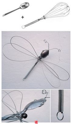 Dragonfly wire sculpture from a whisk and spoon. Dragonfly wire sculpture from a whisk and spoon. Crafts To Make, Fun Crafts, Arts And Crafts, Wire Crafts, Metal Crafts, Sculptures Sur Fil, Wire Sculptures, Silverware Art, Cutlery