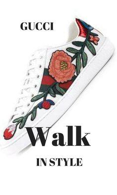 GUCCI styles are so much fun! Love these shoes. Gucci Fashion, Fashion Brands, Luxury Fashion, Womens Fashion, Gucci Brand, Gucci Floral, Neiman Marcus, Sneakers, Fun