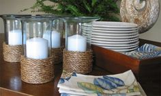 DIY - rope wrapped candle holders