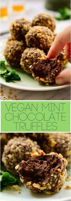 These #vegan mint #chocolate truffles are super easy to make with just a handful of ingredients. Dark chocolate, fresh mint and crunchy hazelnuts make a decadent #dessert that's great for holiday parties or for vegans with a sweet tooth.