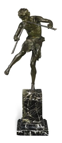 ÉDOUARD DROUOT 1859-1945 FRENCH - PAN the base signed: E. Drouot; and inscribed: ETLING.PARIS bronze, dark green and red patina, on a veined green marble base bronze: 33.3cm., 13 1/8 in. base: 16cm., 6 1/4 in.
