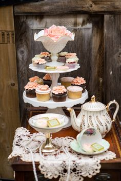 Make a tiered cupcake stand from thrift store finds ~ The Frosted Petticoat: Afternoon tea Rustic Peach Wedding, Rustic Weddings, Elegant Wedding, Boho Wedding, Wedding Decor, Wedding Cakes, Dream Wedding, Macarons, Vintage Tee