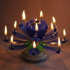 New Navy-Blue Rotatable Beautiful Musical Blossom Lotus Flower Party Birthday Candle Hot Gift Festival Bougie Anniversaire