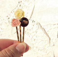 Flower bobby pin set $14.00 ~ http://www.etsy.com/listing/86181117/garden-grove-flower-bobby-pin-set