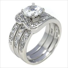 The Knot Jewelry Exquisite 2 ct 925 Silver 2 piece Bridal Wedding Ring Set