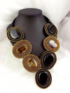 Exotic Sugulite Semi Precious Bib Necklace by mycoralnpearl