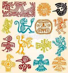 Mexican symbols-line drawings in color. Can use for Mexican tin art inspiration.