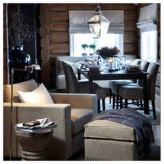 färger Cabin Interior Design, Chalet Interior, House Design, Cabin Homes, Log Homes, Lexington Home, Cabin Interiors, Dining Room Design, Living Spaces