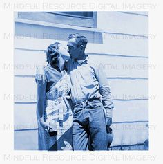 Couple's Kiss 1940s Vintage Cyan Blue Snapshot by mindfulresource, $3.00