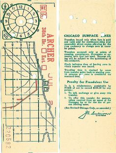 Historical Map: Chicago Surface Lines (Streetcar) Transfer Ticket (date unknown)