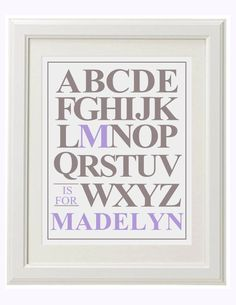 ABC Baby Girl Name Art - Choose your colors - 8x10 - Uppercase. $15.00, via Etsy.