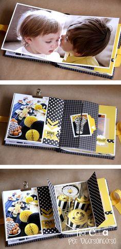 Beau mini de par le combo et la mise en page, belle idée : http://dicorsoincorso.blogspot.it/2013/07/minialbum-compleanno-elisa.html