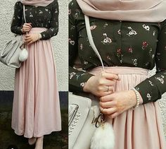 longue jupe rose claire chemise kaki avec motif hijab rose claire sac blanc #hijab #style #hijabstyle #beautiful #classforever