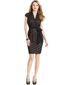 Alex Evenings Dress, Short-Sleeve Lace Sequin - Dresses - Women - Macy's