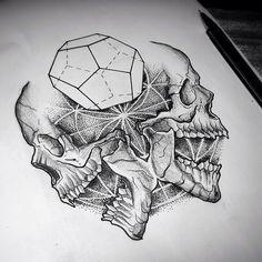 #dotwork #skull #geometry #sacral #dark #black #sketch #artwork