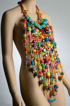 Going Quackers. Stringing. Acrylic Beads, Vintage Beads, Straws, Rubber Tubing, Suction Cups