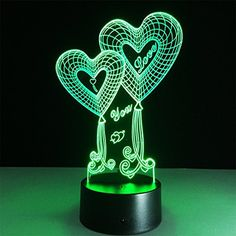 ATD Double Heart Balloon I Love You Optical Illusion Touch Botton 7 Color Changing LED Night Light Desk Lamp,Romantic Gift for Lover,Wife,Boyfriend or Girlfriend Romantic Gifts For Boyfriend, Gifts For Your Girlfriend, 3d Light, Love And Light, Modern Country, Battery Powered Led Lights, 3d Optical Illusions, Love Anniversary, Rose Girl