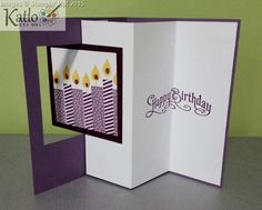 handmade card: Build a Birthday Pop Out Swing Card . luv the crisp lines and deep purple ink and cardstock . side by side candles on the pop out . design perfect for display . Pop Out Cards, Fun Fold Cards, Folded Cards, Cool Cards, Handmade Birthday Cards, Greeting Cards Handmade, Scrapbooking, Scrapbook Cards, Book Libros
