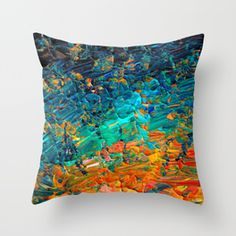 ETERNAL TIDE 2 Rainbow Ombre Ocean Waves Abstract Acrylic Painting Summer Colorful Beach Blue Orange Throw Pillow