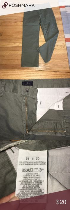 Dockers 34X30 army green khaki pants Great khaki pants for work or play. Size 34 x 30. Lots of wear left. Cuffs on bottom of pants are in great shape. Button pockets on the rear. Dockers Pants Chinos & Khakis