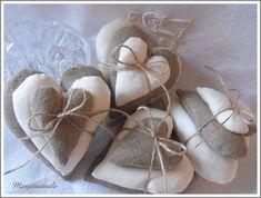 Coeur en lin et coeur en coton ancien