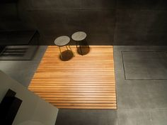 Slatted flush fitting teak shower tray by Moab 80   design Gabriella Ciaschi, Studio Moab