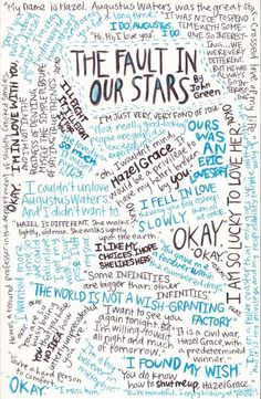 The Fault in our stars quotes collage. I didn't read the book, didn't see the movie but I totally want to do this for my favorite books!