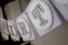 Perfect purple and pearl white banner- Sofia the First inspired.