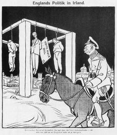 [ ], 'Englands Politik in Irland', in 'Wiener Caricaturen' (Oostenrijk, 13 augustus 1916) Tekst in tekening: 'Home Rule Bill'. Onderschrift: 'Britischer General (in Dublin): Da sagt man, die Iren sind unzufrieden - ich sehe nur, dass sie an England mehr als je hängen.' Vertaling: 'Britse generaal (in Dublin): Ze zeggen, de Ieren zijn ontevreden - ik constateer alleen maar, dat ze nog meer aan Engeland hangen.'
