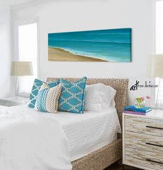 Beach ocean painting panoramic canvas wall art, Teal blue coastal beachy living room pictures, Dining room wall decor, Above bed art Coastal Beach Decor, Beach House Decor, Room Wall Decor, Room Pictures, Living Room Pictures, Sunset Wall Art, Room, Dining Room Wall Decor, Beachy Living Room