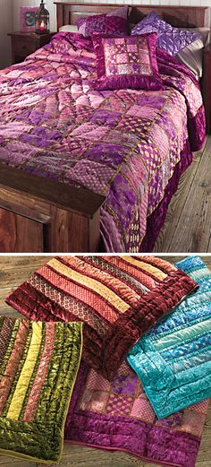 Patchwork velvet & brocade indian quilt-love that green one...and the blue...and purple--I just love them all!!!!