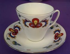 PORSGRUND FARMERS ROSE Cup and Saucer ~ Gold Trim