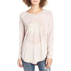 Women's Rip Curl Moon Island Long Sleeve Graphic Tee ($30) ❤ liked on Polyvore featuring tops, t-shirts, dusty rose, striped long sleeve t shirt, striped tee, graphic t shirts, graphic design t shirts and stripe tee