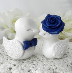 Wedding Cake Topper - Love Birds - Ivory and Navy Blue - Bride and Groom Keepsake - Fully Customizable
