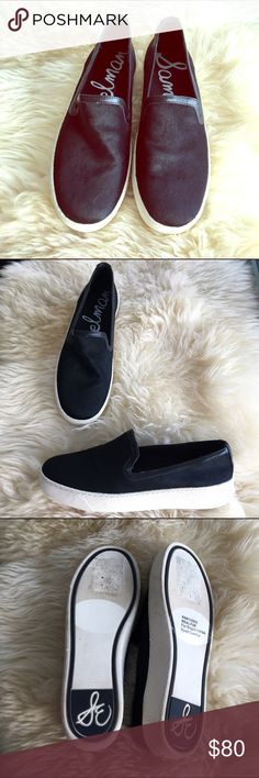 Sam Edelman Black hair calf Slip-on Sneakers 38 Becker Black leather and cowhide slip-on skate plimsoll flat sneakers like Vans. Worn once. Size 7.5 run a little big so will also fit an 8. Super. Slight flatform. Comfy. Sam Edelman Shoes