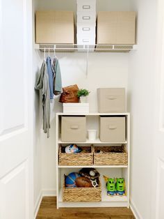 Utilizing Entry Way Closet Space Small Storage, Storage Spaces, Entry Closet, Small Closet Space, Small Closet Organization, Master Bedroom Closet, Closet System, Entryway, Foyer