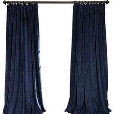 Rochelle Velvet Blackout Curtain Panel in Blue