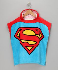 This Blue Superman Terry Hooded Poncho - Boys by Superman is perfect! #zulilyfinds