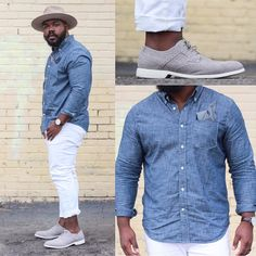 Denim shirt and white denim jeans are going to be a staple of mine for awhile! So clean and classic 👌🏾 Chubby Men Fashion, Mens Plus Size Fashion, Large Men Fashion, Trendy Mens Fashion, Mens Fashion Suits, Big Fashion, Fashion Boots, Fashion Outfits, Outfit Hombre Casual
