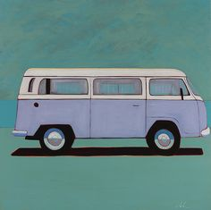 Baby Blue VW Bus by Melissa Chandon